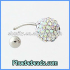 Wholesale Stainless Steel Bar Navel Belly Piercing Belly Button Rings Body Jewelry 10mm AB Crystal Rhinestone Ball BRR-A005