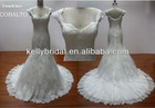 Cap sleeve French lace and tulle made elegant wedding dress 2014