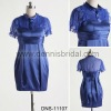 Exquisite DNS-11107 High-Neck Short-Sleeve Ruffle A-Line Imitated Silk Knee-Length Mother Dress