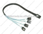 SAS Fanout Cable 20Inch Long (0.5m) Mini SAS x4 (SFF-8087) to 4 Independed SATA Data Cables with Latches