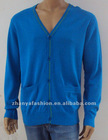 Men's Blue Elbow Patch Vee Cardigan