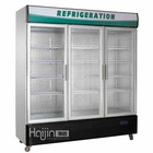 Direct cooling Standard glass door beverage freezer/three door display cooler for grocery/electronic refrigerator