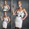 SD3664 Fashion White Strapless Empire Black Sash Big Bowknot Ruffles Short Cocktail Dress For Women