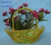 yellow and green handbasket moss flower planter indoor decoration