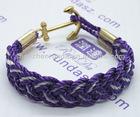 Vogue Sailor Anchor Hook Fashion purple charm cotton bracelet 4 ring with women rope bracelet