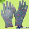 Flower Printed Nylon Glove PU Coated For Careful Work Fine