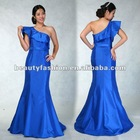 2012-2013 blue color ruffle shoudler mermaid great summer season elegant cocktail & ball eveing dresses & wedding dresses