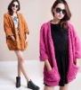 ej1028 Dolman Sleeve Looped Fabric Knitwear Cardigan Coat