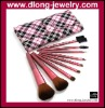 Profession 9PCS Brushes Set With Pink Checked Bag Cosmetics/Makeup Tools