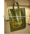 Harrods of Knightsbridge Shoulder Shopping Bag Green NICE Cotton/PVC By K&G