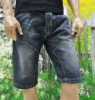 summer wrinkled and washing jeans skinny short for men