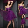 JR0121 Purple Pleated Train Young Girls Cocktail Dresses