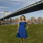 2011 New Hot Sales Strappless A-Line Backless Handmade Flower Taffeta Knee-Length Designer Bridesmaid Dress