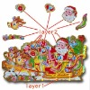 3D Christmas sticker with Sleigh Picture