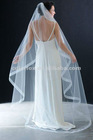 Flutter Cut with Organza Ribbon Edge Gathered on Wire Comb Chapel Bridal Veil