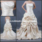 ST048 Romantic Champage Strapless Lace Up Ruffled Gown Satin Wedding Dress In Stock