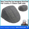 Mens Tweed Flat Cap Herringbone Wool Peak Hat Country 5 Colours Quilt Lined 01