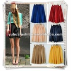 Short Mini Retro High Waist Pleated Double Layer Chiffon Pompon Dress Skirt