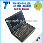 New 7 inch Mini Laptop VIA8850 OS Android 4.0 512MB 4GB RJ45 Wifi Camera Mini Netbook five color option