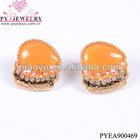 Golden resin rhinestone design earrings-PYEA900469