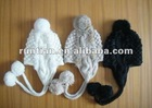 Fashionable girls' handmade winter fur ear flap hats