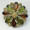 crystal flower brooch pin
