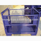 Folding storage mesh container/metal cage pallet