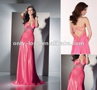 Sexy Satin V-neckline with waist cut-outs and open-back Colorful beaded applique on the straps waistline prom dress OLP108