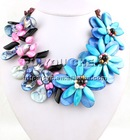 """Rainbow Mother of Pearl Shell & Black Onyx chips Flower Necklace set 18"""""""