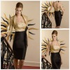 Elegant Halter Yellow And Black Taffeta Long Sleeve Jacket Sexy Mother Of The Bride
