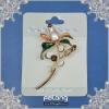 flower brooch budding flower brooch with crystal
