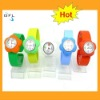 2012 hot flower style silicone multi-colored snap watches interchangeable slap bands watches