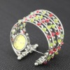 fashion elegant seed bead multistrand silver plated arc-shape quartz charm bracelet watch
