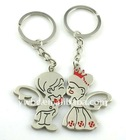 fashion alloy red bridegroom and bride lover couple key chain(K100048)