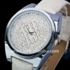 ARINNA gorgeous New Ladies clear white leather Belt Watch 18K Crystal W0003