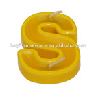 Ceramic stand candle holders letter candlestick number candleholder colored candle holders with wax yellow letter S candle