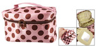Brown Dot Pattern Pink Zipper Portable Cosmetics Makeup Hand Bag
