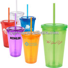 Promotional 16oz double wall acrylic straw tumbler for wholesale