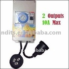 Hydroponics Heavy Duty Timer 2 Outputs 10A Max for Lighting Ballast Fan