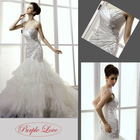 One Shoulder Strap Mermaid Train Taffeta&Crumple tulle Wedding Dress HT-0825