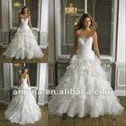 Drop shipping generous ruffled beaded sweetheart organza bridal wedding gowns 2013