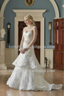 Elegant Two Tier Lace Gown with 3 Lace at the Bottom of the Layers Removable Sash with A Flower Bridal Wedding Dress