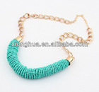 European fashion multicolor beads hand cylinder necklace (blue)