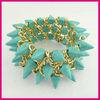 Latest handmade Green Turquoise Punk style Bracelet fashion jewelry set