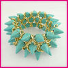 Latest handmade Green Turquoise Punk style Bracelet fashion jewelry set
