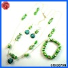 2012 newest design glass beaded style matching necklace,earring,rhinestone bridal jewelry set