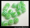 Resin Beads 10mm jewelry accessory Green Stripe Round Beads PL176