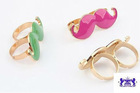 2 Charmed By Stacy BLACK Mustache Ring (Two-fingers & Adjustable