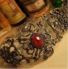Euramerican Fashion hollow inlay red stone EngravingFlower bracelet jewelry bangle