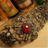 Euramerican Fashion hollow inlay red stone EngravingFlower bracelet jewelry bangle